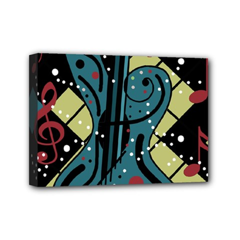 Playful Guitar Mini Canvas 7  X 5  by Valentinaart