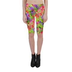 Colorful Mosaic Cropped Leggings  by DanaeStudio