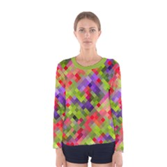 Colorful Mosaic Women s Long Sleeve Tee by DanaeStudio
