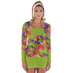 Colorful Mosaic Women s Long Sleeve Hooded T Shirt by DanaeStudio