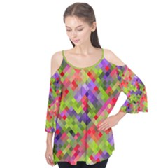 Colorful Mosaic Flutter Sleeve Tee  by DanaeStudio