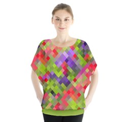 Colorful Mosaic Batwing Chiffon Blouse by DanaeStudio