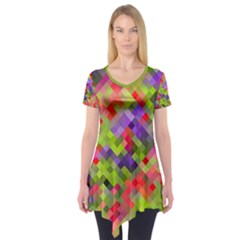 Colorful Mosaic Short Sleeve Tunic  by DanaeStudio