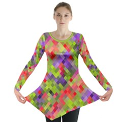 Colorful Mosaic Long Sleeve Tunic  by DanaeStudio
