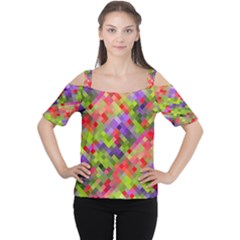 Colorful Mosaic Women s Cutout Shoulder Tee by DanaeStudio
