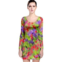 Colorful Mosaic Long Sleeve Velvet Bodycon Dress by DanaeStudio