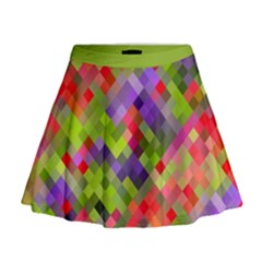Colorful Mosaic Mini Flare Skirt by DanaeStudio