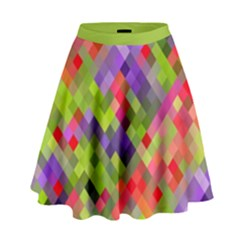 Colorful Mosaic High Waist Skirt by DanaeStudio