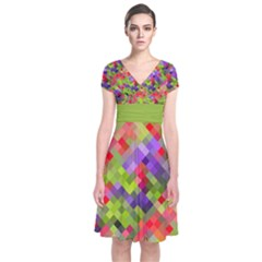 Colorful Mosaic Short Sleeve Front Wrap Dress by DanaeStudio