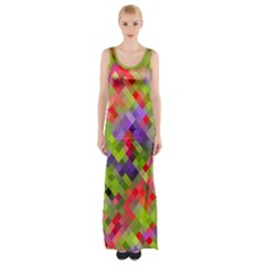 Colorful Mosaic Maxi Thigh Split Dress by DanaeStudio