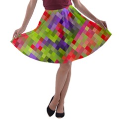 Colorful Mosaic A Line Skater Skirt by DanaeStudio