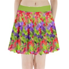 Colorful Mosaic Pleated Mini Skirt by DanaeStudio