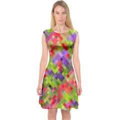 Colorful Mosaic Capsleeve Midi Dress by DanaeStudio