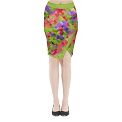 Colorful Mosaic Midi Wrap Pencil Skirt by DanaeStudio