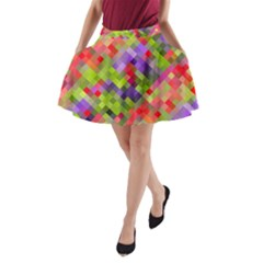 Colorful Mosaic A Line Pocket Skirt by DanaeStudio