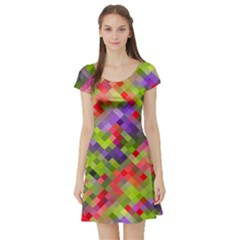 Colorful Mosaic Short Sleeve Skater Dress by DanaeStudio