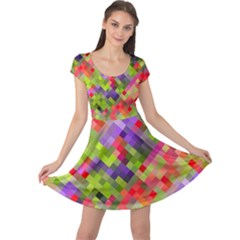 Colorful Mosaic Cap Sleeve Dress by DanaeStudio