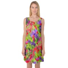 Colorful Mosaic Sleeveless Satin Nightdress by DanaeStudio