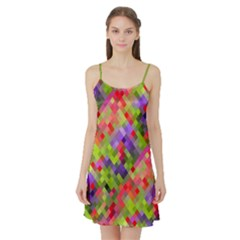 Colorful Mosaic Satin Night Slip by DanaeStudio