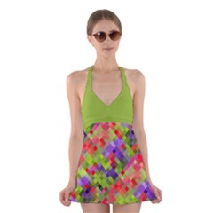 Colorful Mosaic Halter Swimsuit Dress by DanaeStudio