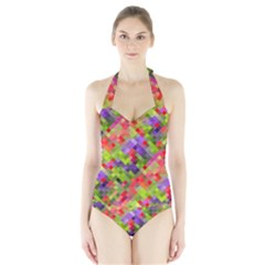 Colorful Mosaic Halter Swimsuit by DanaeStudio