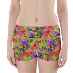 Colorful Mosaic Boyleg Bikini Wrap Bottoms by DanaeStudio