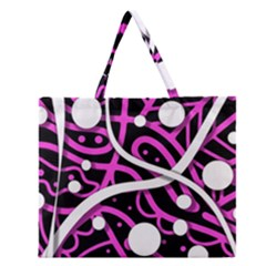Purple Harmony Zipper Large Tote Bag by Valentinaart