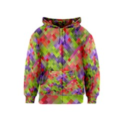 Colorful Mosaic Kids  Zipper Hoodie by DanaeStudio