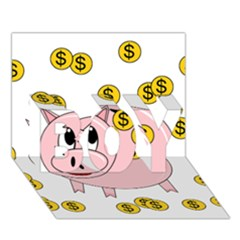 Piggy Bank  Boy 3d Greeting Card (7x5) by Valentinaart
