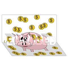 Piggy Bank  Engaged 3d Greeting Card (8x4) by Valentinaart