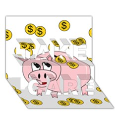 Piggy Bank  Take Care 3d Greeting Card (7x5) by Valentinaart