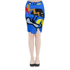 Little Bird Midi Wrap Pencil Skirt by Valentinaart