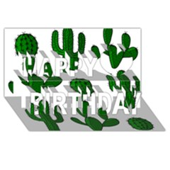 Cactuses Pattern Happy Birthday 3d Greeting Card (8x4) by Valentinaart