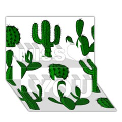 Cactuses Pattern Miss You 3d Greeting Card (7x5) by Valentinaart