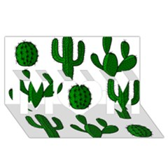 Cactuses Pattern Mom 3d Greeting Card (8x4) by Valentinaart