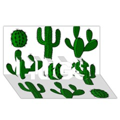 Cactuses Pattern Hugs 3d Greeting Card (8x4) by Valentinaart