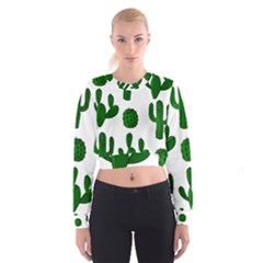 Cactuses Pattern Women s Cropped Sweatshirt by Valentinaart