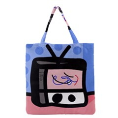 Old Television Grocery Tote Bag by Valentinaart