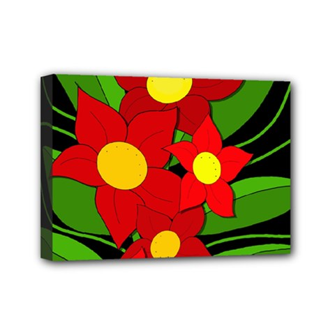 Red Flowers Mini Canvas 7  X 5