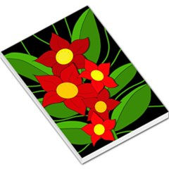 Red Flowers Large Memo Pads by Valentinaart