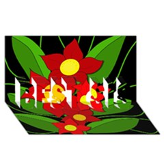 Red Flowers Best Sis 3d Greeting Card (8x4)