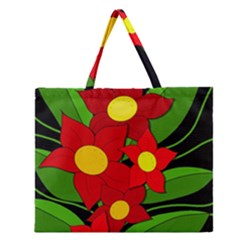 Red Flowers Zipper Large Tote Bag by Valentinaart