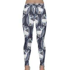 Geometric Deer Retro Pattern Yoga Leggings  by DanaeStudio