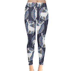 Geometric Deer Retro Pattern Leggings  by DanaeStudio
