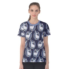 Geometric Deer Retro Pattern Women s Cotton Tee by DanaeStudio