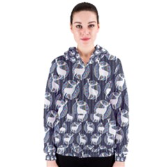 Geometric Deer Retro Pattern Women s Zipper Hoodie