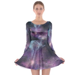 Blue Galaxy Long Sleeve Skater Dress