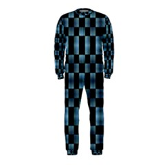 Black And Blue Checkboard Print Onepiece Jumpsuit (kids) by dflcprintsclothing