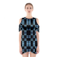 Black And Blue Checkboard Print Cutout Shoulder Dress by dflcprintsclothing