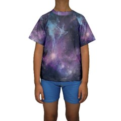 Blue Galaxy Kid s Short Sleeve Swimwear
